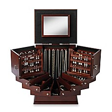 image of Lori Greiner® Deluxe Wood Jewelry Organizer in Walnut
