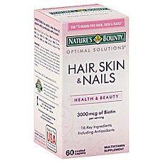 image of Nature's Bounty 60-Count Optimal Solutions Hair, Skin & Nails Formula Caplets