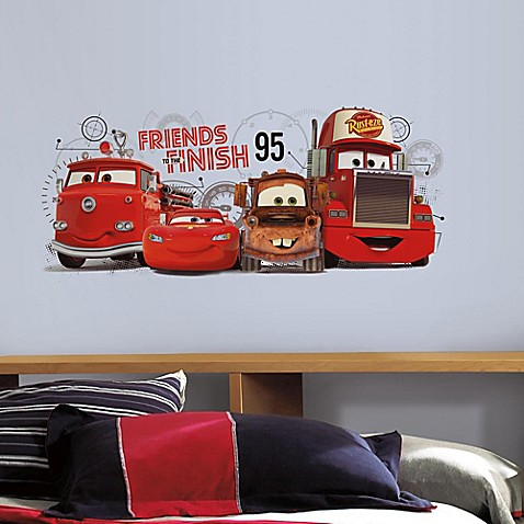 Roommates disney pixar cars 2 friends to the finish peel for Disney pixar cars wall mural