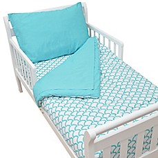 image of TL Care® 4-Piece Percale Toddler Bedding Set in Aqua Sea Wave