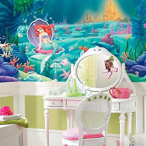 Disney little mermaid chair rail prepasted 10 5 foot x 6 - Pegatinas disney para habitaciones ...