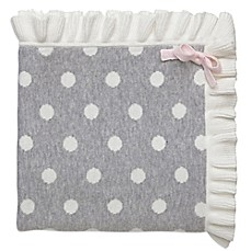 image of elegant baby dot blanket with ruffle in grey