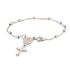 image of Speidel My First Speidel® Sterling Silver Mary & Budded Cross Charm Bracelet