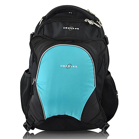 obersee oslo diaper bag backpack with detachable cooler in black turquoise buybuy baby. Black Bedroom Furniture Sets. Home Design Ideas