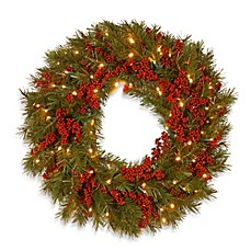 national tree company decorative collection battery operated 24 inch valley pine christmas wreath - Battery Operated Christmas Wreath