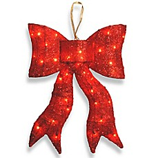 national tree 24 inch lighted red wavy sisal bow