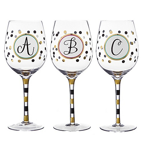 monogram letter wine glass bed bath beyond With letter wine