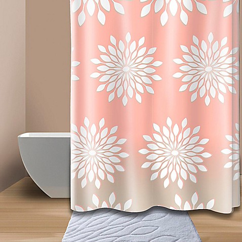 coral and brown shower curtain. Extra Wide Medina Floral Shower Curtain In Coral White  Bed Bath