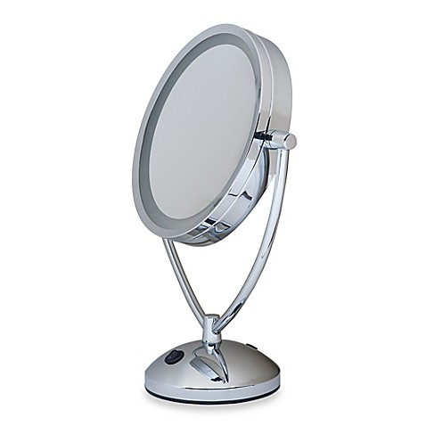 illuminated magnifying mirrors for bathrooms 1x 10x magnifying lighted chrome vanity mirror bed bath 23527