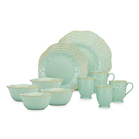 Lenox® French Perle 16-Piece Dinnerware Set in Ice Blue