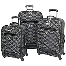 image of Geoffrey Beene 3-Piece Hearts Luggage Collection in Grey/Black