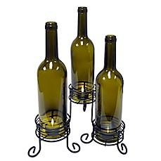 image of Vinotemp® Wine Bottle Candle Holders (Set of 3)