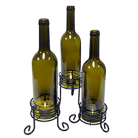 Vinotemp wine bottle candle holders set of 3 bed bath for Champagne bottle candle holders