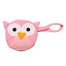 image of J.L. Childress Owl Pacifier Pal Pacifier Pocket in Pink
