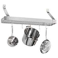 image of Cuisinart® Brushed Stainless Steel Rectangular Bookshelf Pot Rack