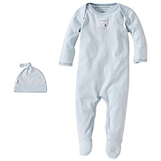 image of Burt's Bees Baby® Organic Cotton 2-Piece Footed Coverall and Hat Set in Blue Stripe