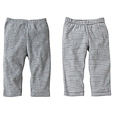 image of Burt's Bees Baby® 2-Pack Organic Cotton Footless Pant in Grey Solid/Stripe