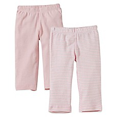 image of Burt's Bees Baby® 2-Pack Organic Cotton Footless Pant in Pink Solid/Stripe