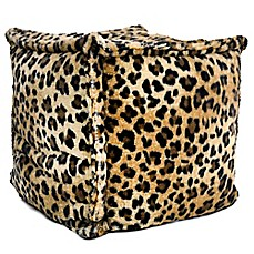 image of Square Pouf Bean Bag Chair in Brown Leopard