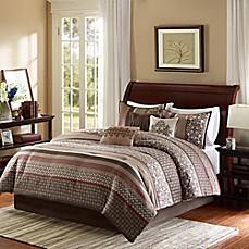 image of madison park princeton 7piece comforter set in red - Southwest Bedding