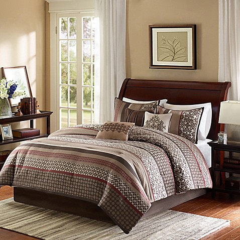 Madison Park Princeton 7 Piece Comforter Set In Red Bed