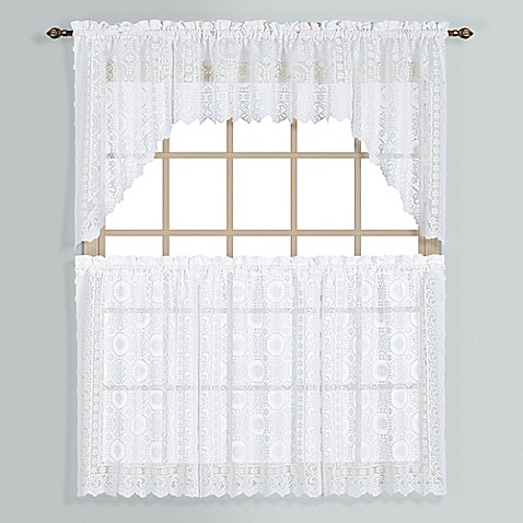Buy New Rochelle 36 Inch Lace Window Curtain Tier Pair In White From Bed Bath Beyond