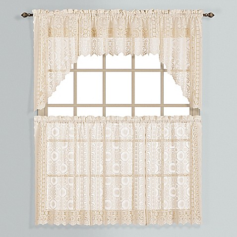 Buy new rochelle 36 inch lace window curtain tier pair in natural from bed bath beyond for 36 inch bathroom window curtains