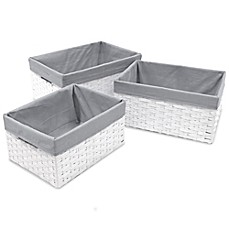 Image Of Redmon 3 Piece Basket Storage Set With Grey Liners In White