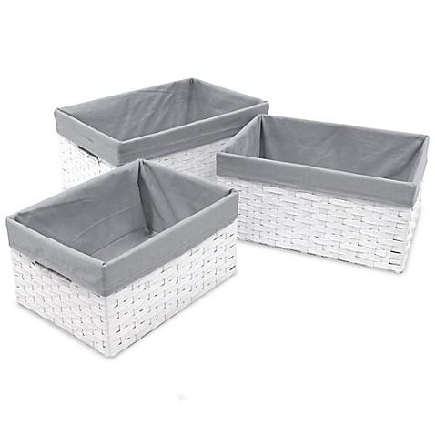Redmon 3 Piece Basket Storage Set With Grey Liners In White