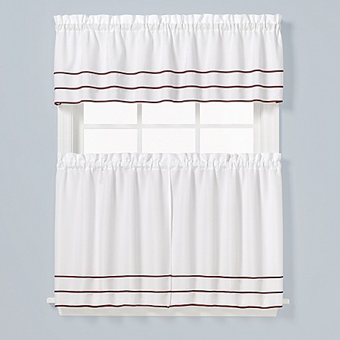 Buy ann striped 36 inch window curtain tier pair in berry from bed bath beyond for 36 inch bathroom window curtains
