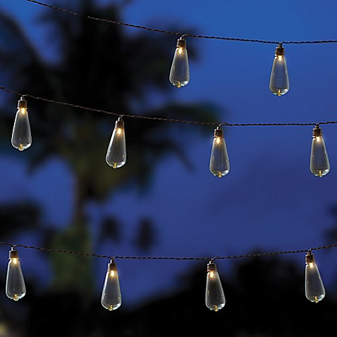 Image Of Outdoor Solar 10 Bulb String Lights In Clear