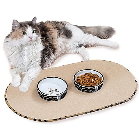 The Original™ Taupe Pet Bowl Mat in Medium