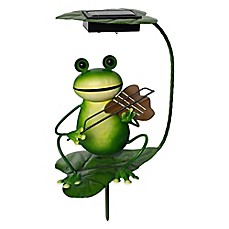 image of solar powered frog with violin lighted garden stake bed bath and beyond lighting