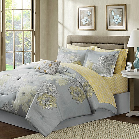 buy madison park avalon 9 piece full comforter set in grey from bed bath beyond. Black Bedroom Furniture Sets. Home Design Ideas