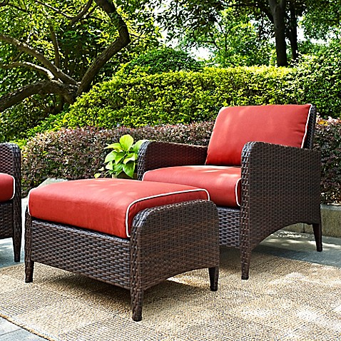 Crosley Kiawah 2 Piece Wicker Arm Chair And Ottoman Set