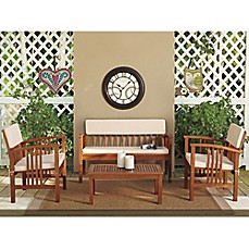image of 4-Piece Westerly Acacia Wood Deep Seating Chat Set