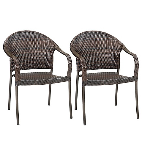 image of Barrington Wicker Stacking Chairs  Set of 2. Patio Chairs   Benches  Plastic Chairs  Folding Patio Chairs   Bed