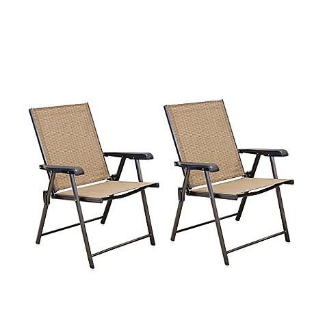 Hawthorne Folding Sling Chairs Set Of 2 Bed Bath Amp Beyond