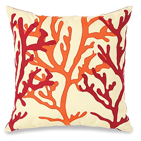 Embellished Fan Coral Outdoor Throw Pillow - Bed Bath & Beyond