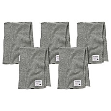 image of Burt's Bees Baby® 5-Pack Organic Cotton Burp Cloths in Heather Grey