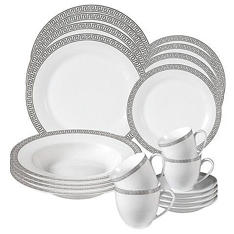 Lorren Home Trends Greek Key 24-Piece Dinnerware Set  sc 1 st  Bed Bath u0026 Beyond & Lorren Home Trends Greek Key 24-Piece Dinnerware Set - Bed Bath u0026 Beyond