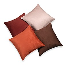 image of suede 20 inch square throw pillow - Red Decorative Pillows