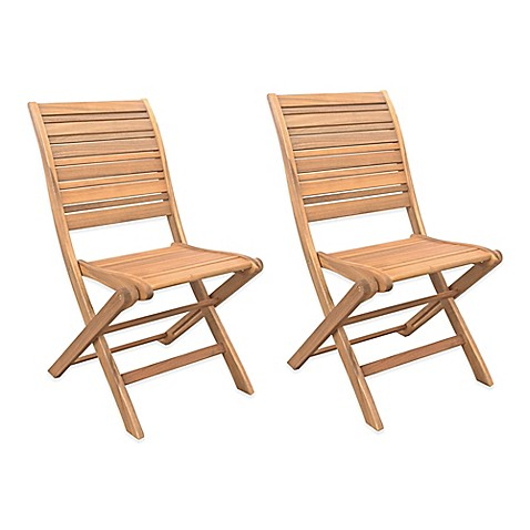 westerly acacia wood folding chairs (set of 2) - bed bath & beyond