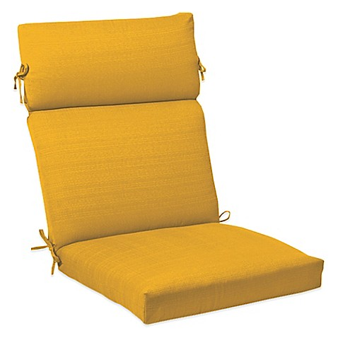 Outdoor High Back Cushion With Ties In Yellow Bed Bath