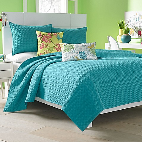 j by j queen new york camden coverlet in turquoise - J Queen New York Bedding