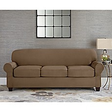 image of Sure Fit® Designer Suede Individual Cushion 3-Seat Sofa Slipcover