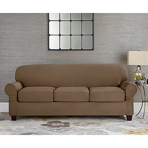 image of Sure Fit® Designer Suede Inidual Cushion 3-Seat Sofa Slipcover  sc 1 st  Bed Bath u0026 Beyond : recliner couch cover - islam-shia.org