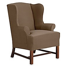 image of Sure Fit® Designer Suede Wing Chair Slipcover