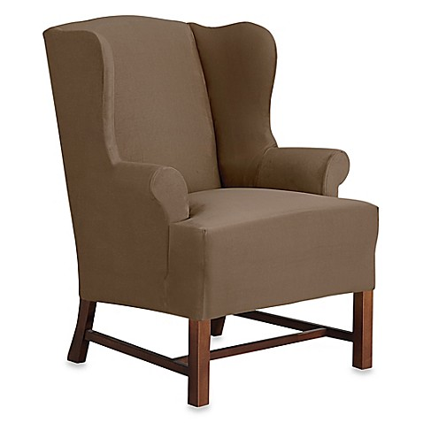 Sure Fitu0026reg; Designer Suede Wingback Chair Slipcover