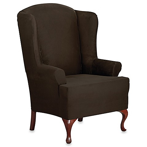 buy sure fit designer suede wing chair slipcover in